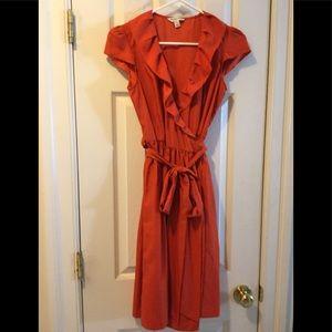 Banana Republic orange wrap dress